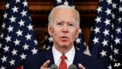 Candidato democrata à Presidência discursa em Filadélfia a 2 de Junho de 2020.