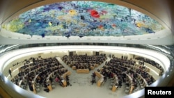 Overview of the session of the Human Rights Council during the speech of U.N. High Commissioner for Human Rights Michelle Bachelet at the United Nations in Geneva, Switzerland, February 27, 2020. Picture taken with a fisheye lens. REUTERS/Denis…