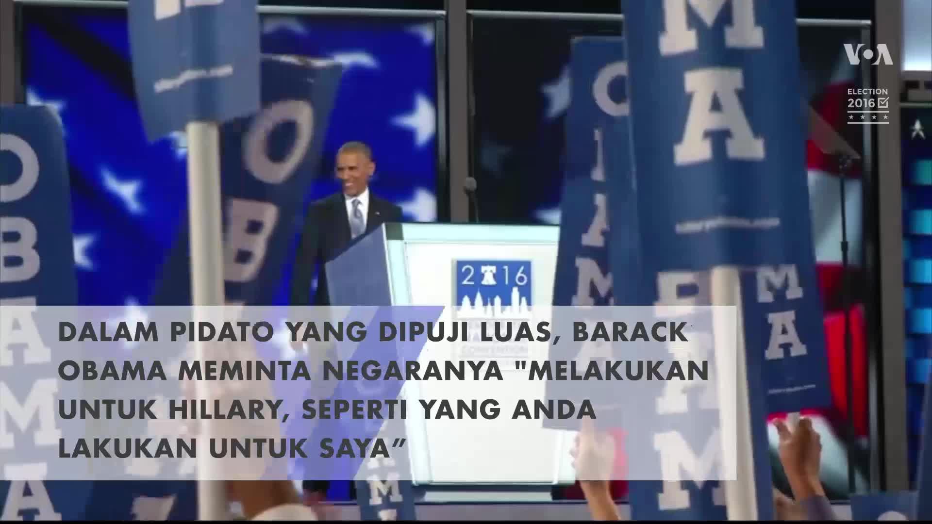 Obama: Junjung Hillary Seperti Anda Junjung Saya