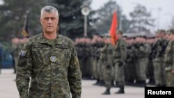 FILE - Kosovo's President Hashim Thaci attends a ceremony of security forces, in Pristina, Kosovo, Dec. 13, 2018.