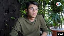 El joven Lesther Alemán, miembro de la Alianza Cívica. Nicaragua. Foto: [Miguel Bravo/VOA].