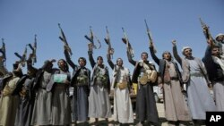 Shi'ite Houthi tribesmen chant slogans during a tribal gathering showing support for the Houthi movement in Sana'a, Yemen, Sept. 21, 2019.