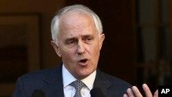 Thủ tướng Australia Malcolm Turnbull phát biểu trong một cuộc họp báo ở Canberra.
