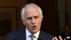 Perdana Menteri Australia dalam konferensi pers di Gedung Parlemen di Canberra (20/9). (AP/Rob Griffith)