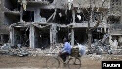 지난 27일 시리아 다마스쿠스 외곽 지역. (자료사진)