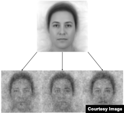 The top image is a composite of 50 faces representing the collective demographics of the US population. The three on the bottom show how the composite changed based on people's depictions of God. (PLOS One)