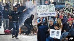 """左图:突尼斯抗议者和警察在街头发生冲突;右图:参加""""占领华尔街""""活动的美国民众在纽约游行"""
