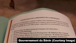 La liste des membres du nouveau gouvernement du Bénin