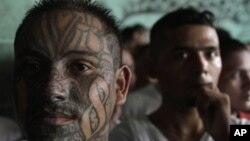 Pandilleros salvadoreños en el centro penal de Quezaltepeque, una de las cárceles donde se gestó la tregua entre pandillas.