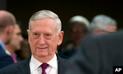 FILE - Jim Mattis, U.S. secretary of defense at the time, is seen arriving for a meeting at NATO headquarters in Brussels, Belgium, Feb. 14, 2018.