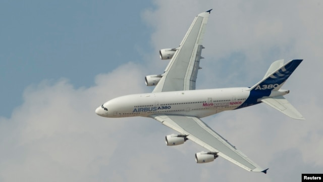 An Airbus A380, the world's largest passenger jet, flies during the Dubai Airshow, Nov. 18, 2013.