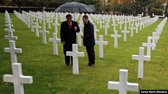 Presidente americano Donald Trump participa em cerimónia do Dia do Armistício, 100 anos depois do final da Guerra Mundial I, no Cemitério Americano de Suresnes em Paris. 11 Novembro 2018