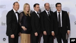 "Producers of ""The Social Network,"" from left to right, Kevin Spacey, Cean Chaffin, Dana Brunetti, Scott Rudin and Michael De Luca pose backstage after winning Best Motion Picture - Drama during the Golden Globe Awards 16 Jan. 2011, in Beverly Hills, Calif"