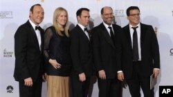 """Producers of """"The Social Network,"""" from left to right, Kevin Spacey, Cean Chaffin, Dana Brunetti, Scott Rudin and Michael De Luca pose backstage after winning Best Motion Picture - Drama during the Golden Globe Awards 16 Jan. 2011, in Beverly Hills, Calif"""