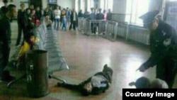 中国黑龙江省庆安县火车站农民徐纯合被击毙现场 (网络图片)