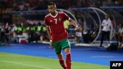 Hakim Ziyech lors d'un match de CAN entre le Maroc et la Côte d'Ivoire, Egypte, le 28 juin 2019. (Photo JAVIER SORIANO / AFP)