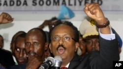 New Somali President Mohamed Abdullahi Mohamed celebrates winning the election and taking office in Mogadishu, Somalia, Feb. 8, 2017.