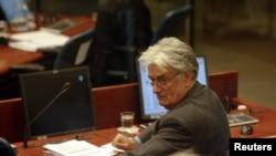 Radovan Karadzic in war crimes courtroom in September, 2011.