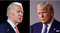 總統特朗普(右)與民主黨對手拜登(左)。