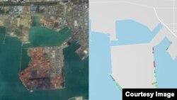 중국 룽커우 항을 찍은 구글어스 위성사진(왼쪽)과 선박의 위치를 보여주는 마린트래픽 이미지 비교 화면. 오른쪽 이미지 하단에 연두색 점으로 표시된 선박 중 6척이 북한 선박이다.