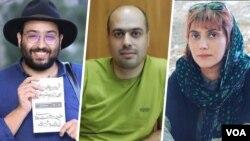 از راست: مرضیه امیری، مسعود کاظمی و کیومرث مرزبان سه روزنامهنگار ایرانی