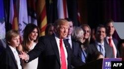 Donald Trumpakikubali ushindi wake akiwa hoteli ya Hilton jijini New York City, Nov. 9, 2016.