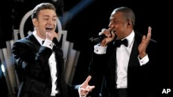 Recording artists Just Timberlake, left, and Jay-Z performing at the 55th annual Grammy Awards in Los Angeles, Feb. 10, 2013.