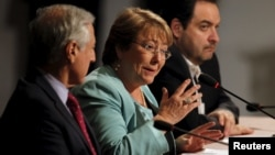 FILE - Chile's President Michelle Bachelet talks at the 2015 Alianza del Pacifico (Pacific Alliance) political summit, in Paracas, Peru, July 2, 2015.