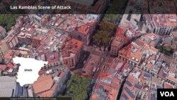 巴塞羅那發生貨車衝上行人道的位置