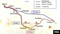 Peta rute jalur kereta cepat Jakarta-Bandung (VOA/Wulan).