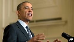 1월 31일 백악관에서 회견하는 오바마 대통령 (자료사진)