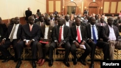 Members of South Sudan rebel delegation attend the opening ceremony of South Sudan's negotiation in Ethiopia's capital Addis Ababa, Jan. 4, 2014.