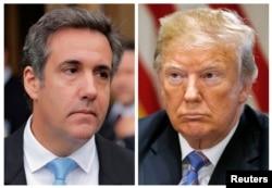Kombinacija dve fotografija na kojima su lični advokat Donalda Trampa, Majkl Koen ispred federalnom suda na Menhetnu, 16. aprila 2018. i predsednika Donalda Trampa u Beloj kući, 18. jula 2018.