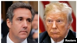 A combination photo shows President Donald Trump's onetime personal attorney, Michael Cohen, outside federal court in New York City, April 16, 2018, and Trump in the White House, July 18, 2018.