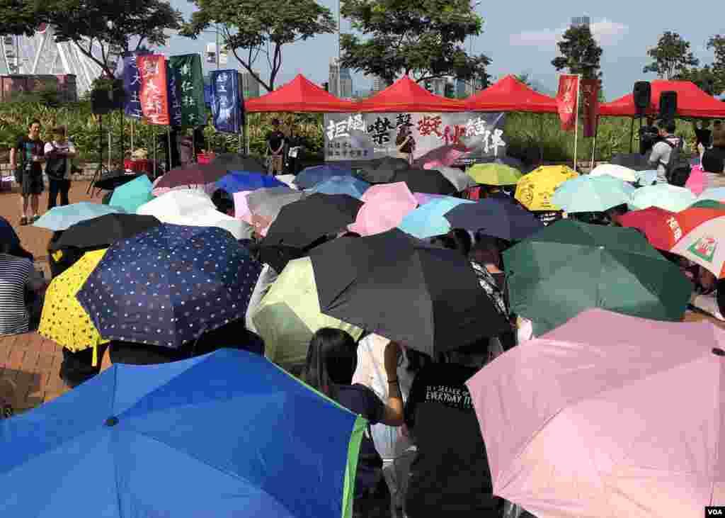 香港社工学联在爱丁堡广场举行集会。 (2019年9月16日)