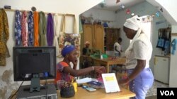 Marietou Diop teaches women how to sew and crochet each afternoon at the atelier (E. Sarai/VOA)