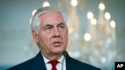 Secretary of State Rex Tillerson makes a statement at the State Department in Washington, Oct. 4, 2017.