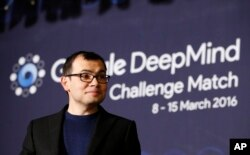 CEO of Google DeepMind Demis Hassabis at a press conference after a Go match between South Korean professional Go player Lee Sedol and Google's artificial intelligence program, AlphaGo, in Seoul, South Korea, March 9, 2016.