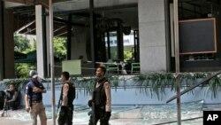 雅加達星巴克咖啡店發生爆炸和槍擊事件現場