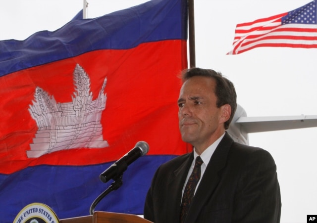 U.S. Ambassador to Cambodia William E. Todd gives a speech during a repatriation ceremony to honor the recovery of possible remains believed to belong to missing U.S. military service members found in Kampong Cham province.