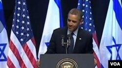 Rais Obama akizungumza na vijana wa chuo kikuu huko Israel.
