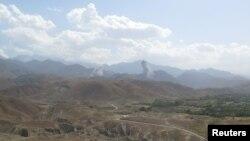 Əfqanıstanın Nangarhar vilayətində ABŞ hərbi qüvvələrinin hava hücumundan sonra görünüş, 7 iyul, 2018.