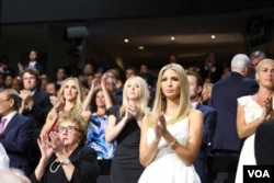 Ivanka Trump, the daughter of Republican presidential nominee Donald Trump, cheers as Mike Pence accepts the vice presidential nomination, in Cleveland, July 20, 2016.