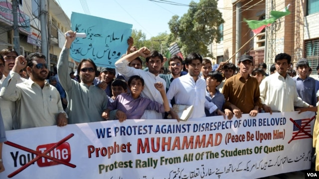 Scenes of a protest rally against the anti-Islam movie, in Quetta, Pakistan, September 20, 2012. (Hameedullah Samsor/VOA)