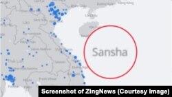 """Ảnh chụp màn hình Facebook live map trước khi mạng xã hội lớn nhất thế giới chỉnh sửa """"lỗi kỹ thuật"""" khi cho hai quần đảo Hoàng Sa và Trường Sa vào lãnh thổ Trung Quốc."""