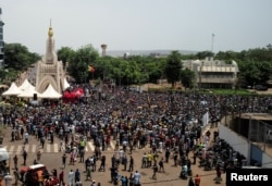 FILE - Protesters demand the resignation of Mali's President Ibrahim Boubacar Keita at Independence Square in Bamako, Mali, June 5, 2020.