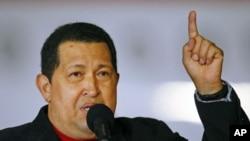 Venezuela's President Hugo Chavez speaks after arriving from Cuba at Simon Bolivar airport in Caracas, Venezuela, March 16, 2012.