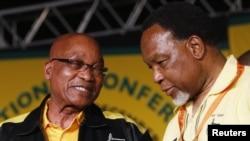 Jacob Zuma (à g.) et l'homme qui tente de lui succéder, le vice-président Kgalema Motlanthe