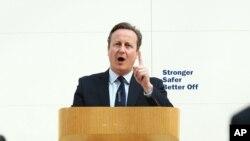 Perdana Menteri Inggris David Cameron menyampaikan pidato di Museum Inggris di pusat kota London (9/5).