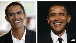 Presiden AS Barack Obama, kanan, dan pria Indonesia yang mirip dengannya, fotografer Ilham Anas. (Foto: Dok)